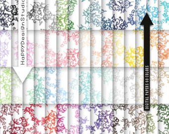 60 colors floral digital paper watercolor pattern scrapbooking watercolour hand paint wedding cute background diy invite tags card