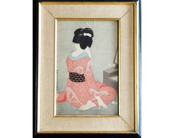 Hirano Hakuho, 1879-1957 | Before the Mirro (Kagami no mae) | Original Wood Block Print | c 1930s