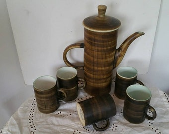 Rye Pottery Monastery Cinque Ports Coffee Pot And 5 Cups 1960s