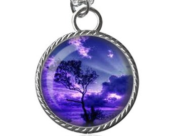 Tree Necklace, Sunset Necklace, Purple, Scenery Image Pendant Key Chain Handmade