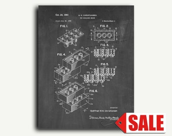 Patent Print - Lego Building Blocks Patent Wall Art Poster Patent Print 1