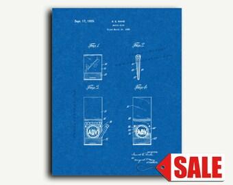 Patent Print - Match Book Patent Wall Art Poster