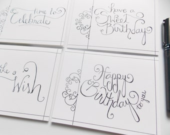 Birthday Card - Birthday Card Set - Birthday Card Pack of Four - Fancy Birthday Card For Her - For Mom - For Sister - Birthday For Friend