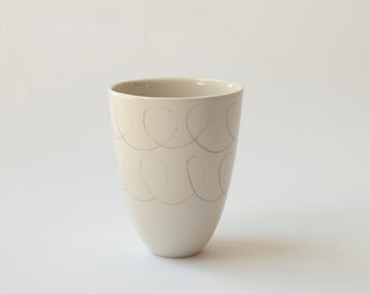 White porcelain cup with free hand drawing / Ceramic tumbler / Tea cup / Coffee cup / geometric patern