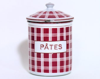 French Enameled Pasta Canister-Preserving Jars-Made in France-1930-Home Decor-French Vintage Kitchenware-Grandmas Kitchen
