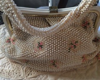 Vintage 50s  Cord and Bead purse