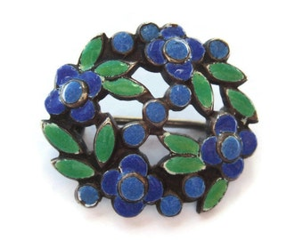 Vintage Bernard Instone small enamel brooch, forget-me-nots, enamelled flowers and leaves, Arts and Crafts brooch or lace pin, 1930s, #388.