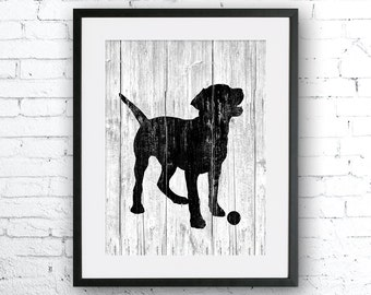 Labrador art illustration print, dog art, Labrador painting ,dog illustration, Wall art, Rustic Wood art, Animal silhouette, art print