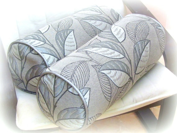 silver leaf bolster neckroll pillow cover 20x20 18x18 9x20 neckroll black white piping chair. Black Bedroom Furniture Sets. Home Design Ideas