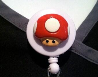 Nintendo® Super Mario Bros Red Mushroom ~ ID Holder ~ Retractable Badge Reel ~ Belt Clip ~ Alligator Clip~ Gifts for Nurses Teachers Doctors