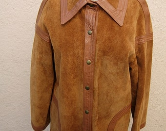 """Bust: 38"""" - 40"""" -- High-End 1960s Two Tone Suede / Leather Jacket"""