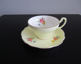 Foley Cup and Saucer - Yellow and Flowers - 2968