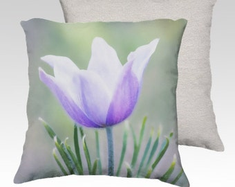 Spring crocus, on pillow case, purple, soft, nature, home decor,