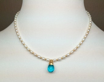 Pearl Apatite 24K Gold Pendant Necklace