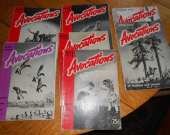 Avocations Magazine Hobbies and Leisure Oct 1937 Vol 1 No 1 Lot of 7 Avocations
