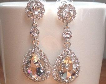 Stunning long, silver, crystal bridal earrings