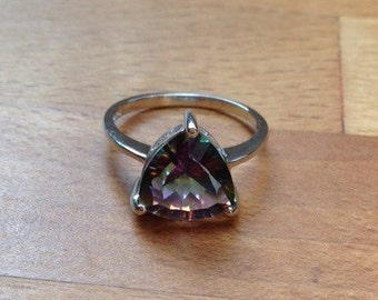Triangle Rainbow Fire Mystic Topaz Ring