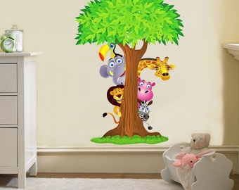 SAFARI Animals Tree Decal Removable WALL STICKER
