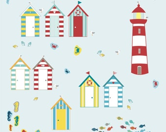 BEACH HUT Wall Stickers - Seaside Wall Stickers - Lighthouse Wall Sticker - Seaside decals - Beach theme room decor - Beach Hut decals