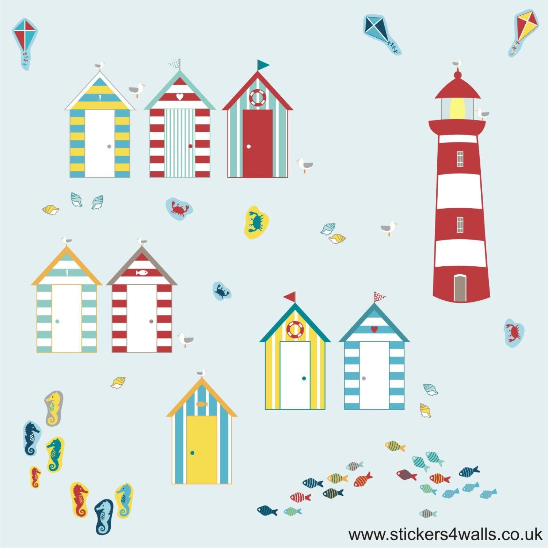 beach hut wall stickers seaside wall stickers lighthouse lighthouse at the beach seaside wall sticker wall art