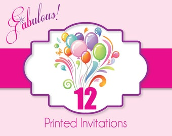 "Printing Services - 12 Satin Smooth Printed Party Invitations with Envelopes 5"" x 7"" or 4"" x 6"""