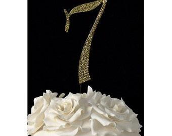 "Gold Number ""7"" Rhinestone Cake Topper"