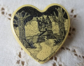 Vintage Etched Heart-Shaped Pin with Castle Scene