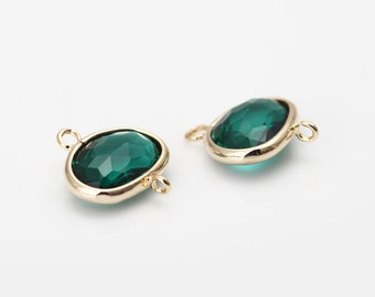 Emerald Glass Frame Connector Polished Gold -Plated - 2 Pieces [SS0040-PGEM] Favorite