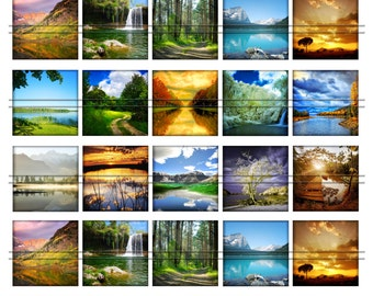 Nature world landscapes (Summer / winter) - 1,5'' squares, graphics x scrapbooking, Digital Printable Images File 8,5x11, BUY 2 GET 1 FREE