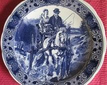 Plate large blue flat decoration Delft Netherlands Holland handmade rare