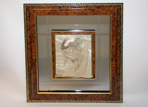 Creazioni Artistiche Italy Sterling ARG 925 #d Relief Religious Mirror Icon