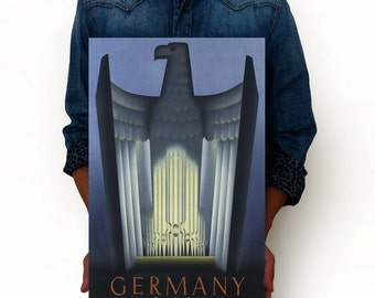 """Germany - The Land of Music Vintage Poster, Travel Poster, Art Posters, Minimalist Art Advertising Vintage Poster 13"""" x 19"""""""
