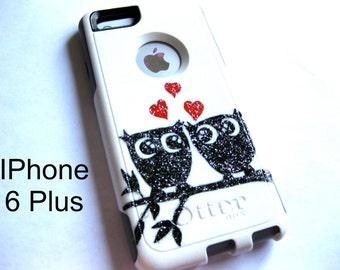 otterbox iphone 6plus case, Iphone 6plus case, Glitter case, Iphone cover, custom otterbox iphone 6plus, gift, Owl iphone 6plus case