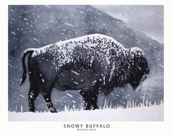 Snowy Buffalo Print Oil Painting by Michael Doig