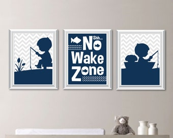 Baby Boy Nursery Art. Boy Nursery Decor.  Fishing Nursery Art. Fishing Bedroom Art. Fish Print. Fish Nursery Art. Boy Bedroom Art. (NS-718)