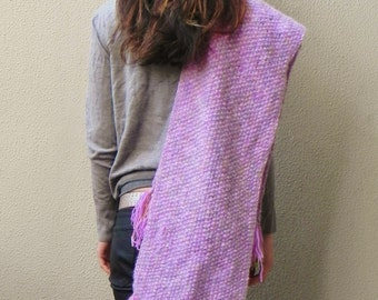 SALE, Handknit, Chunky, Oversized Scarf, Lilac, Gold, Fringing,  Winter, Scarf, Fall, Extra Long Scarf, Angora Scarf