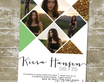 Modern Gold Sparkle Picture Graduation Announcement