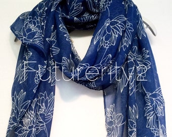 Blue Lotus Flower Spring Summer Scarf / Autumn Scarf / Gift For Her / Womens Scarves / Fashion Accessories
