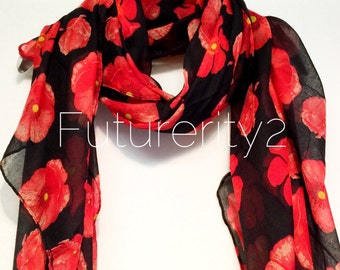 Red Poppy black Summer Scarf / Spring Scarf / Gift For Her / Womens Scarves / Fashion Accessories