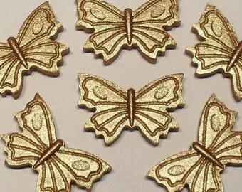 12 Edible GOLD or SILVER  fondant sugarpaste butterflies 3cm x 2cm cake topper decorations