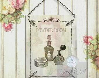 Wall Sign, Powder Room, Bathroom, Typography, Vintage, Printable, Digital, Instant Download