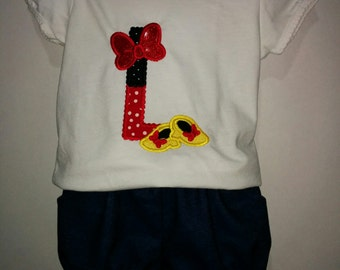 Girls Minnie Mouse Letter Monogram Shirt and Denim Shorts Set Boutique Outfit! 2 3 4 5 6 7 8 RED Yellow and Black Personalized