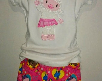 Doc McStuffins Lambie Stuffie Hallie Boutique Birthday Party Shorts Embroidered Shirt TShirt Set Outfit! Toy Doctor Hospital Lamb