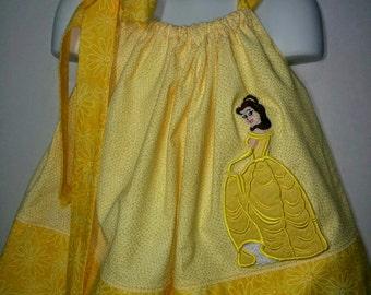 Princess Belle Beauty and the Beast Girl Pillowcase Pillow Case Girl Boutique Summer Sun Dress! Sizes 2 3, 4, 5, 6, 7 8 10 12 14 Hair Bow