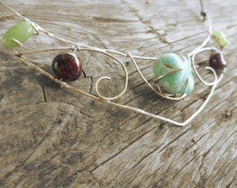 Medieval inspired statement necklace in Silver, Garnet, Jade and Amazonite