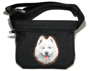 Embroidered dog treat waist bag. Breed - Samoyed. For dog shows and training. Great gift for breed lovers.