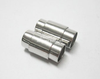 10pcs 7mm Round magnetic clasp Rhodium plated Brass clasp Round leather clasp