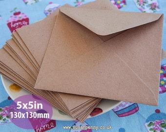 "Kraft Envelopes, 100pk, Brown Flecked Envelopes, 5x5"" Envelopes, Square Kraft Paper Envelopes PSS091"