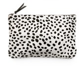 PRIMECUT Spotted Cowhide Oversized Clutch | Purse | Bag | Handbag | Animal Print | Cheetah Print | Black and White