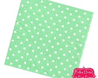20 MINT GREEN Paper Napkins / Serviettes / 3ply / Small Polka Dot / Retro Kids Party Supplies / Wedding / Baby Shower